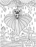 Fantasma de la calabaza del vuelo sobre cementerio con la lluvia de la tempestad de truenos para la página del libro de colorear  Fotografía de archivo libre de regalías