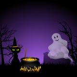 Fantasma di Halloween e gatto nero con il cauldronai Fotografia Stock Libera da Diritti