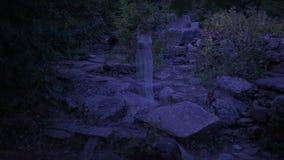 Fantasma di una giovane donna nel fantasma della foresta delle rovine antiche Halloween video d archivio
