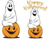 Fantasma en el arte lindo de Halloween de la calabaza libre illustration