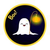 Fantasma engraçado com uma lanterna elétrica da abóbora Imagem de Stock
