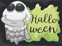 Fantasma feliz con Fang Celebrating Halloween fangoso, ejemplo del vector stock de ilustración