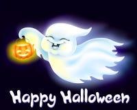 Fantasma pequeno engraçado com uma lanterna da abóbora Fotos de Stock