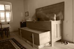 Fantasma que viene hacia fuera la cama antigua vieja Imagen de archivo libre de regalías