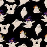 Fantasma sveglio del carattere del fumetto in un cappello della strega nello stile di Halloween Reticolo senza giunte Fotografia Stock Libera da Diritti