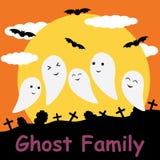 Fantasma sveglio sul fumetto del fondo della luna, sulla cartolina di Halloween, sulla carta da parati e sulla cartolina d'auguri Immagini Stock Libere da Diritti