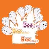 Fantasma sveglio sul fumetto del fondo, sulla cartolina di Halloween, sulla carta da parati e sulla cartolina d'auguri arancio Fotografia Stock Libera da Diritti
