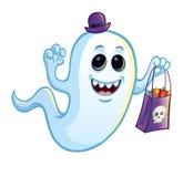 Fantasma tonto con el bolso del truco o de la invitación Foto de archivo