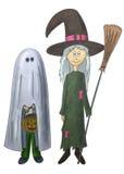 Fantasma y bruja Ilustración del Vector