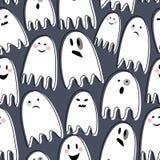 Fantasmas assustadores bonitos no fundo escuro Ilustração Royalty Free