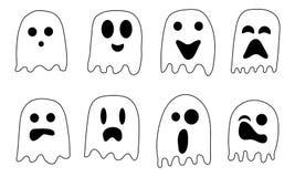 2018 fantasmas blancos y negros para la celebración de Halloween stock de ilustración