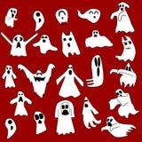 Fantasmas brancos do vectro Celebração de Dia das Bruxas Foto de Stock