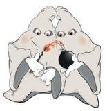 Fantasmas e desenhos animados da bomba Imagem de Stock