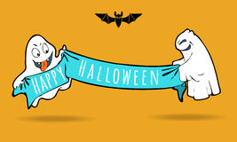 Fantasmas engraçados bonitos com bandeira do feriado Boa vinda ao partido Fotos de Stock