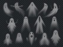 Fantasmas fantasmagóricos del horror transparente del fantasma, espíritu necrófago fantasmal de la noche de Halloween Sistema fan stock de ilustración