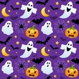 Fantasmas y calabazas de Halloween inconsútiles stock de ilustración