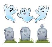 Fantasmas y piedras sepulcrales stock de ilustración