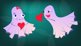 Fantasmi amorosi divertenti a Halloween o al giorno del ` s del biglietto di S. Valentino della st Fotografia Stock Libera da Diritti