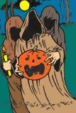 Fantasmi con la zucca di Halloween Fotografie Stock Libere da Diritti