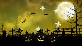 Fantasmi e cimitero di Halloween con il cielo giallo royalty illustrazione gratis