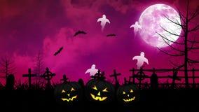 Fantasmi e cimitero di Halloween con il cielo rosa royalty illustrazione gratis