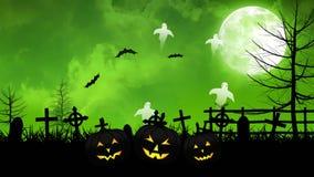 Fantasmi e cimitero di Halloween con il cielo verde royalty illustrazione gratis