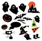 Fantasmi ed animali del partito di Halloween Fotografia Stock