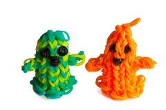 Fantasmi felici degli elastici di Halloween arancio Immagine Stock Libera da Diritti