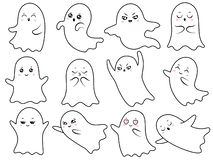 Fantasmi spettrali di Halloween del fantasma sveglio di kawaii, spettro sorridente e carattere spettrale spaventoso con il fumett royalty illustrazione gratis