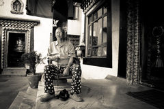 Fantast av Drubgon Jangchup Choeling den tibetana templet, Katmandu, Royaltyfri Fotografi