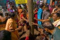 Fantaster som ber till den Lord Shiva - Gajan festivalen royaltyfri foto