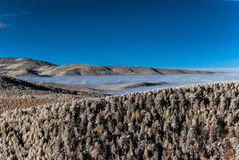 Fantastic aerial infrared view of mountain landscape with sea of Stock Photos