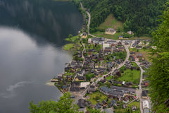 Fantastic aerial view on famous Hallstatt village and alpine lake, Austrian Alps, Salzkammergut, Austria, Europe Royalty Free Stock Photography