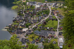 Fantastic aerial view on famous Hallstatt village and alpine lake, Austrian Alps, Salzkammergut, Austria, Europe Stock Photo