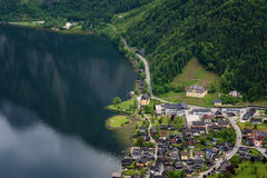 Fantastic aerial view on famous Hallstatt village and alpine lake, Austrian Alps, Salzkammergut, Austria, Europe Stock Images