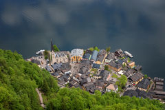 Fantastic aerial view on famous Hallstatt village and alpine lake, Austrian Alps, Salzkammergut, Austria, Europe Royalty Free Stock Photo