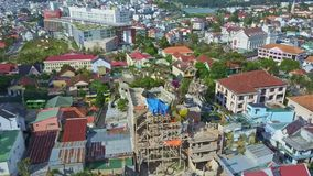 Fantastic aerial view large modern city with Crazy House stock video footage