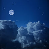 Fantastic  Aerial view of  Night Sky and the Moon Stock Photography