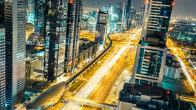 Fantastic aerial view over Dubai downtown at night. Stock Photos
