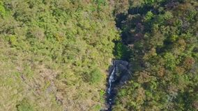 Fantastic Aerial View Waterfall among Tropical Forest. Fantastic aerial view beautiful waterfall in large rock gorge among deep green endless tropical forest stock video footage