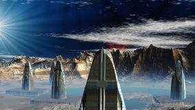 Fantastic (alien) city and UFO. In the night sky multi-colored shining UFOs fly. Among mountains there are strange high buildings stock video