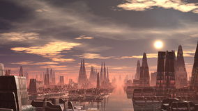 Fantastic (alien) city and UFO stock footage