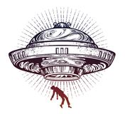 Fantastic Alien Spaceship. UFO abduction of a human with flying saucer icon. Conspiracy theory concept, tattoo art. Isolated vector illustration Vector Illustration