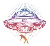 Fantastic Alien Spaceship. UFO abduction of a human with flying saucer icon. Conspiracy theory concept, tattoo art. Isolated vector illustration Stock Illustration