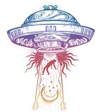 Fantastic Alien Spaceship. UFO abduction of a human with flying saucer icon. Conspiracy theory concept, tattoo art. Isolated vector illustration Royalty Free Illustration