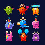 Fantastic Aliens With Birthday Party Objects. Cute Childish Stickers. Cartoon Colorful Alien Characters  On Dark Background Stock Photos