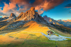 Fantastic alpine pass with high peaks in background, Dolomites, Italy Stock Photo