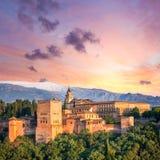 Fantastic Ancient Alhambra at thel evening time. Granada, Spain, European travel landmark Stock Images