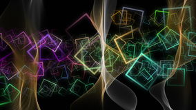 Fantastic animation with color changing wave object in motion and squares, loop HD 1080p stock footage