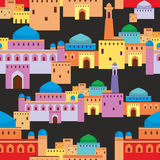 Fantastic Arab city. Islamic seamless pattern with the image of the ancient Middle Eastern city. A mirage in the desert vector illustration